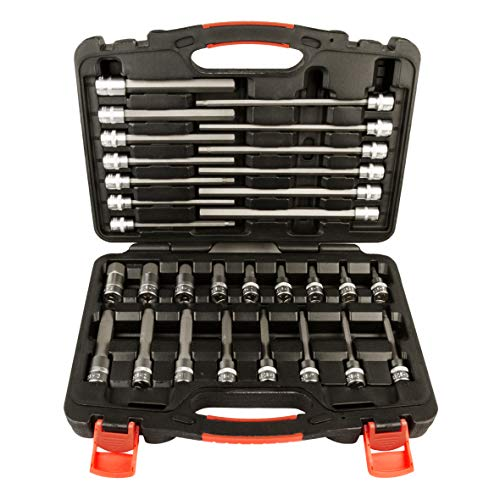 """Allen Hex Bit Socket Set, 3/8"""" Square Drive, Metric,【30 Pieces】, High grade S2 Bits and Chrome Vanadium steel sockets 【Superior Quality】By MUSTANG PREMIUM tools"""