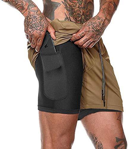HAVANSIDY - Pantalones cortos de deporte 2 en 1 para hombre, para gimnasio, correr, entrenamiento, baloncesto, pantalones cortos con bolsillos para teléfono 1 Kaki S