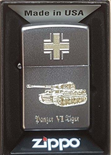 Zippo Panzer VI Tiger - Satin Finish - Diamantgravur Sturmfeuerzeug, Chrom, Silber, 5.8 x 3.8 x 1.8 cm, 1 Einheiten