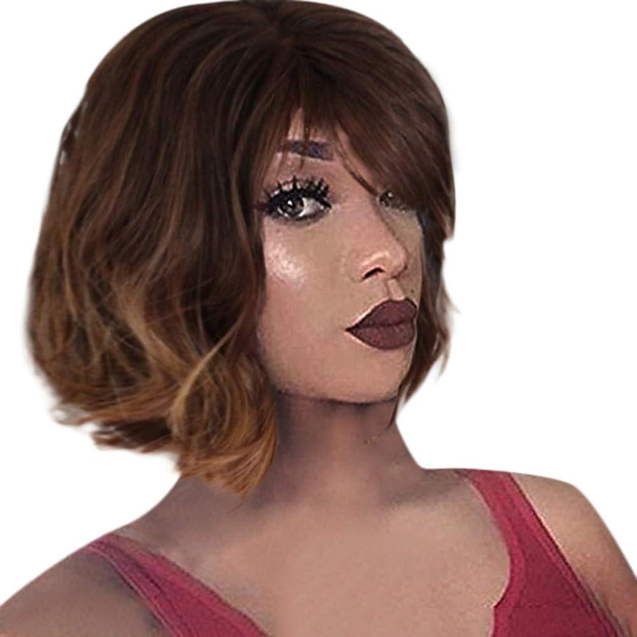 ベルベットケイ素家ファッション茶色のかつら短い巻き毛ボブかつらローズネット