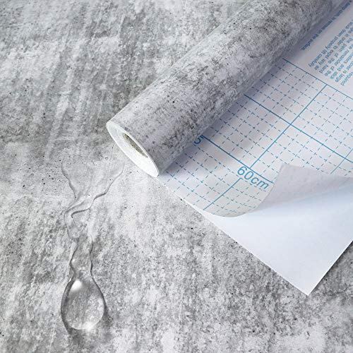 16.4Ft Concrete Wall Effect Wallpaper Stick and Peel Gray Wallpaper Self Adhesive Wallpaper Removable Wallpaper Vinyl Faux Wallpaper Roll