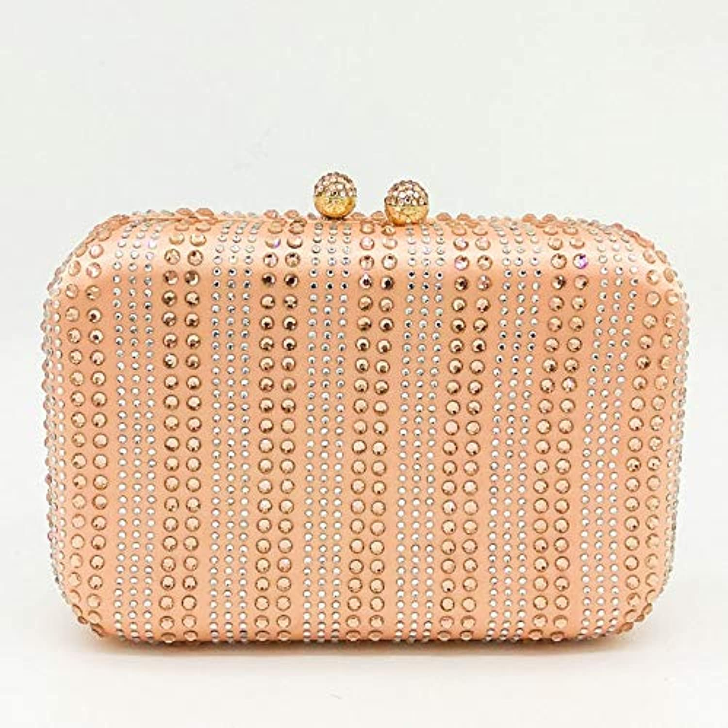 ASHIJIN Boutique Champagne Clear and Crystal Stripes Womens Clutch Evening Wedding Bag Party Cocktail Rhinestone Metal Bag