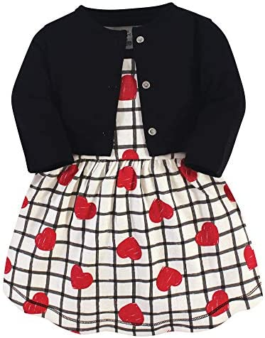 Touched by Nature Baby Girls Organic Cotton Dress and Cardigan Black Red Heart 0 3 Months product image