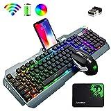 Cross Zebraゲーミングキーボードマウスセット、無線キーボード、英語配列 16RGB LEDバックライト充電式5000mAh大容量、メタルパネル、充電可能、防水キーボード、RGB効果またマルチメディアを制御するノブ付き、2.4GHZワイヤレステクノロジー、7RGBバックライト2400DPIマウス、6鍵静音マウス+マウスパッド Windows/Mac OS PS4 スイッチ対応