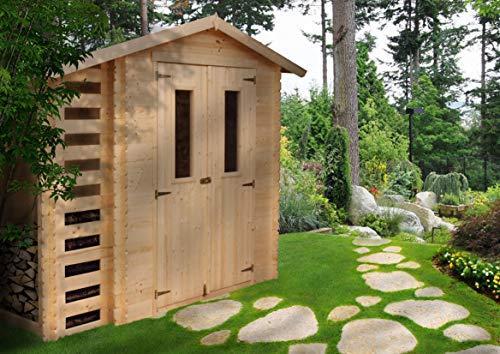 *M386C Blockbohlen Gartenhaus aus Holz + Kaminholz-Unterstand- 3,53+0,97 m²*
