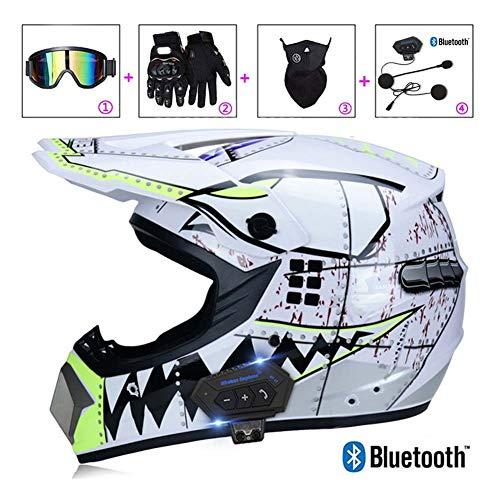 LEENY Motocross-Helme, Hai-Thema Motorrad Crosshelme Set mit Handschuhe/Maske/Schutzbrille/Intercom Bluetooth-Headset, Herren Damen Motorradhelm Off-Road Enduro Racing Downhill Cross Helm,Weiß,L