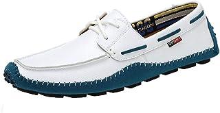 XFQ Chaussures Bateau Hommes, Casual Légère Mocassins Douce Sole Driving Mode Chaussures en Cuir,Blanc,47EU