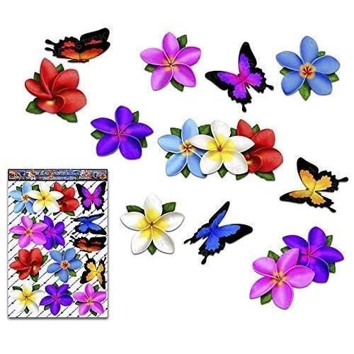 Plumeria multicolore fiore singolo frangipani + adesivi per auto grandi animali farfalla - ST00041MC_3 - adesivi JAS