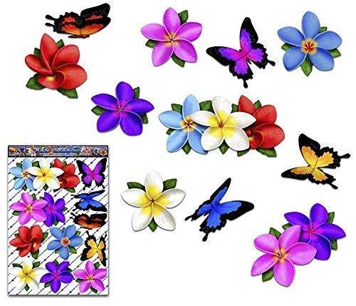 JAS Stickers® Frangipani Blume Schmetterling Auto Aufkleber - Mehrfarbig - Einzel Plumeria Tier Große Vinyl Aufkleber Pack Für Laptop Gepäck Fahrrad Wohnwagen Wohnmobile LKWs & Boote - ST00041MC_3