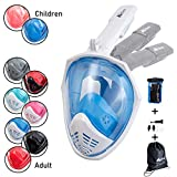 Folding Full Face Snorkeling Mask With Drawstring Bag And Waterproof Phone Case, UK Seller, Breathe Through Your Nose and Mouth | 180 Degree View With Non Fogging Design (L/XL - White & Blue)