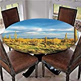 """Elastic Edged Polyester Fitted Table Cover,Floral Cactus Catching the Last Sunrays Day Lights Long Life Western Plant,Fits up 40""""-44"""" Diameter Tables,The Ultimate Protection for Your Table,Yellow Blue"""