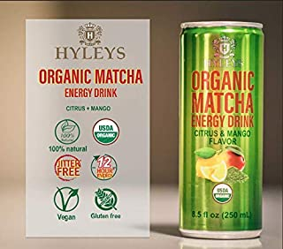 Hyleys Organic Matcha Energy Drink Citrus & Mango – 6 Pack 8.5 fl oz (250 ml) each (Organic, Vegan, Gluten free, Natural Flavor)