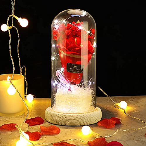 GUJIN Ramo de regalo eterno, cúpula de cristal, rosa artificial, luz LED con base de madera, día de San Valentín, aniversario, boda, regalo de cumpleaños para mujeres, mamá, novia