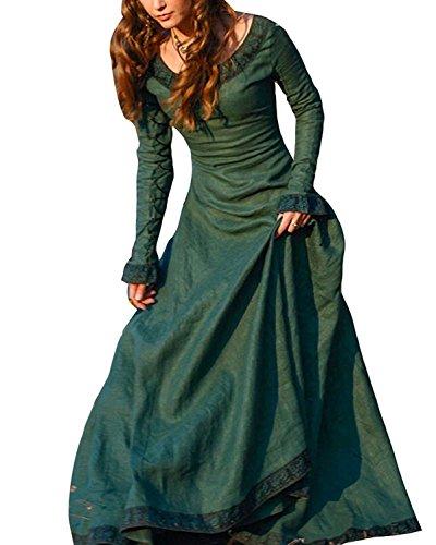 ORANDESIGNE Vintage Mittelalter Kleid Cosplay Kostüm Langarm Kleid Prinzessin Gothic Kleid Übergröße Kleid Grün DE 42