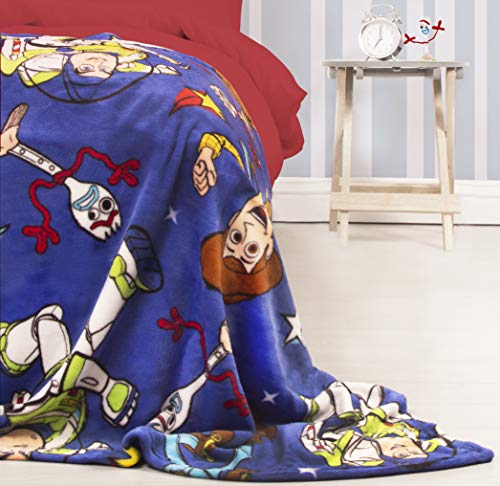 Toy Story Official 4 Fleece Throw | Blue Forky, Woody, Buzz Lightyear Design Super Soft Blanket | Perfect for Any Bedroom