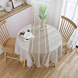 Aonewoe Round Tablecloth Embroid...