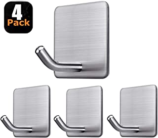 Fotosnow Adhesive Hooks Heavy Duty Stick on Hooks Wall Hooks Hangers for Hanging Bathroom Kitchen Home Door Closet Cabinet-Stainless Steel-4 Packs