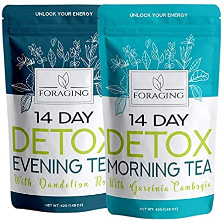 Detox products Foraging Detox Tea – 14 Day and Night Teatox – (28 Tea Bags) with Garcinia