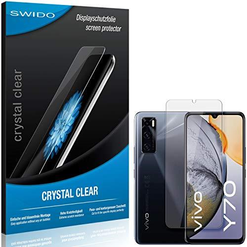 SWIDO Schutzfolie für Vivo Y70 [2 Stück] Kristall-Klar, Hoher Festigkeitgrad, Schutz vor Öl, Staub & Kratzer/Glasfolie, Bildschirmschutz, Bildschirmschutzfolie, Panzerglas-Folie