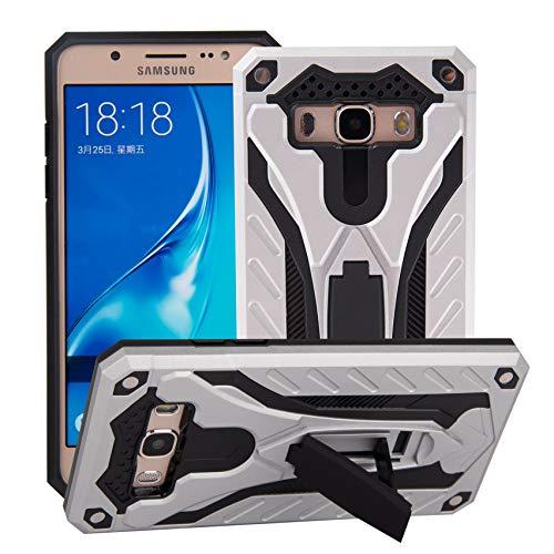 BestST Custodia Samsung Galaxy J7 2016 Cover con Protezione Schermo, Ultra Slim Armatura Antiurto Copertura Dual Layer Heavy Duty Full-Body Robusto Ibrido Guscio Case con cavalletto,Argento