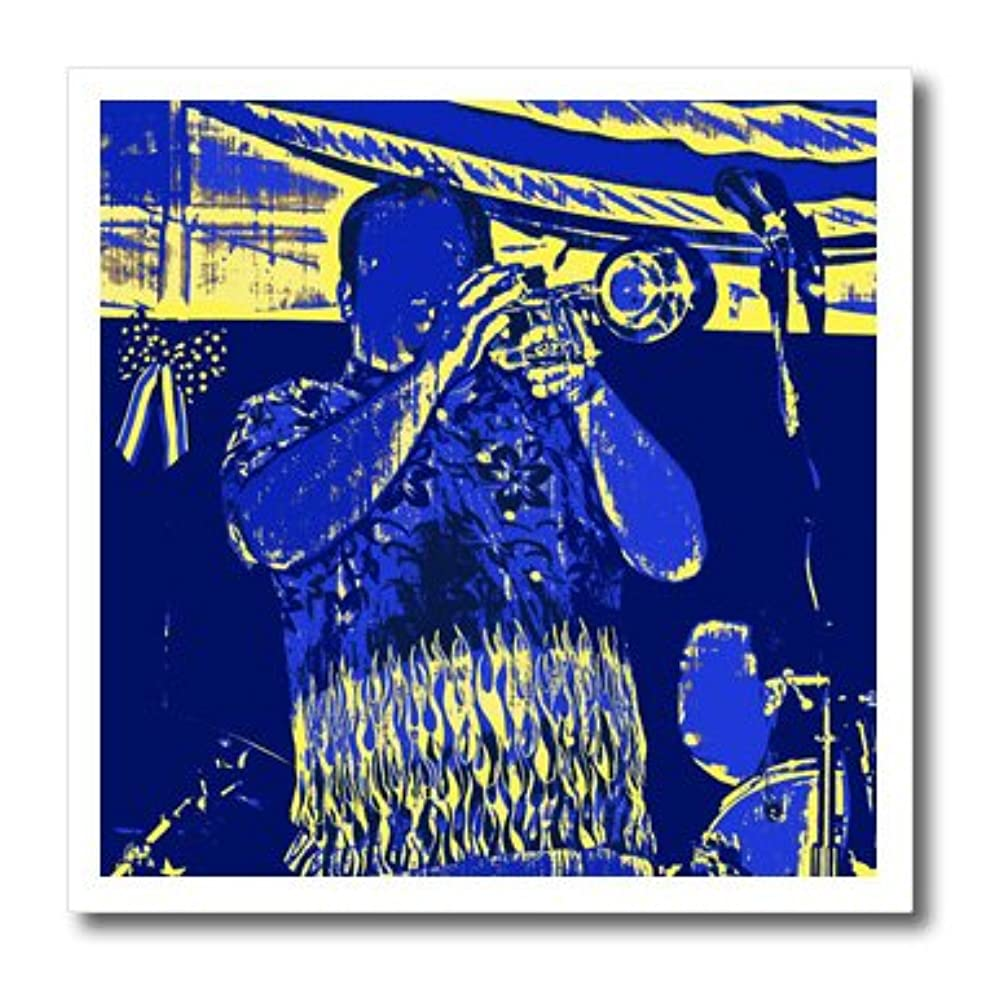 3dRose ht_156379_1 Blue and Yellow Trumpet Player Iron on Heat Transfer Paper for White Material, 8 by 8-Inch