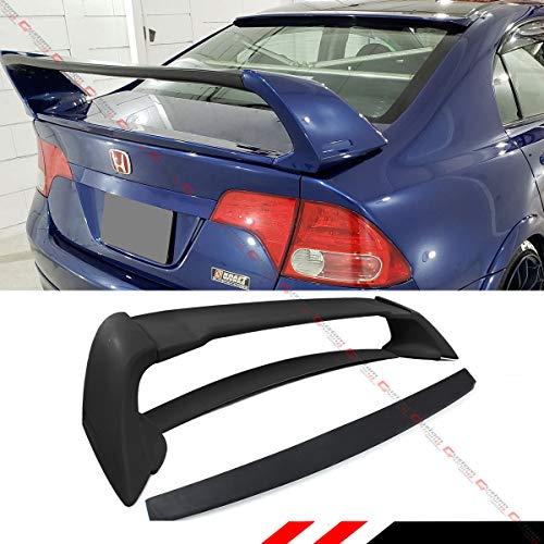 Cuztom Tuning JDM Mug RR Style Trunk Spoiler Wing + Rear Window Roof Spoiler Compatible with 2006-2011 Honda Civic FA 4 Door Sedan