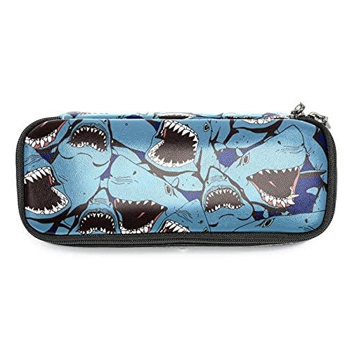 Estuche de Lápices Infantil Tiburones, mar, océano Estuche Escolar Gran Capacidad Bolsa de lápiz Organizador de papelería para niña 19x7.5x3.8cm