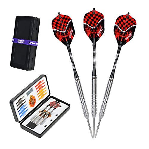 ONE80 Darts, 90% Tungsten Professional Perfection Steel Darts Arrows Set, 22 23 24 Gram Professional Steeldarts with Storage/Travel Case (24)