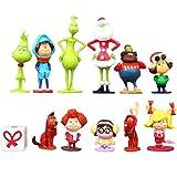 12pcs Grinch Cake Topper Action Figure Toy Dolls Set PVC Model Collections Chrismas Decoration
