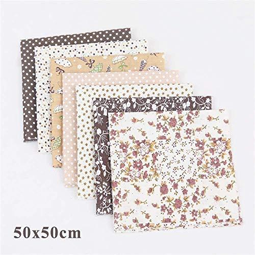 7 Stück Baumwollstoff meterware Stoffpakete Patchwork Baumwolle Baumwollstoff Meterware je 50 x 50 cm DIY Handgefertigte Nähen Stoff (Coffee)