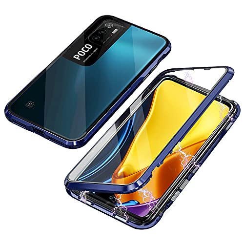 Funda Compatible con Xiaomi Redmi Note 10 5G Poco M3 Pro, Carcasa Absorción Magnética con Armario Diseño, Aluminio Bumper Transparente Vidrio Templado Case 360 Grados Cover,Azul