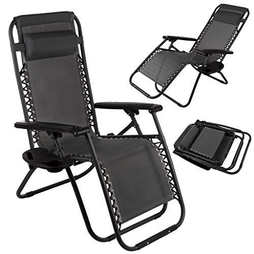 Gartenstuhl Klappstuhl Campingstuhl CA0051GRY Liegestuhl Relaxstuhl Fußstütze, Liegestuhl, Klappbar und verstellbar, Mit Schnürsystem,