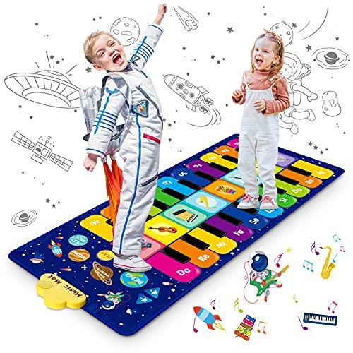 Innedu Alfombra Piano, Alfombra Piano para Niños, Cielo Estrellado Alfombrilla de Baile Estera Piano Mat Juguetes Educativos Alfombra Baile con 8 Instrumentos, 10 Canciones y 20 Teclas, 120 x 48 cm