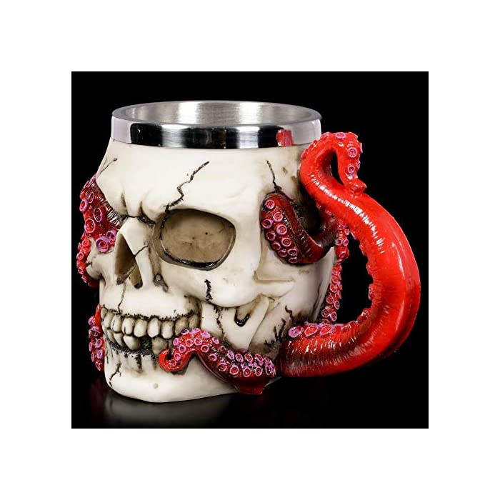 Skull Mug Parasite Octopus Beer Coffee Mugs With Tentacle Handle Stainless Steel And Resin Tankard Skeleton Cranium Skull Beverage Drinking Cup For Ossuary Macabre Halloween Decorative Accent 13oz