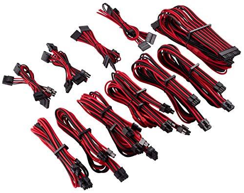 Corsair - Kit Pro (Cables para alimentadores protegidos de Forma Individual con Revestimiento Type 4Gen 4Corsair Premium),Rojo/Negro