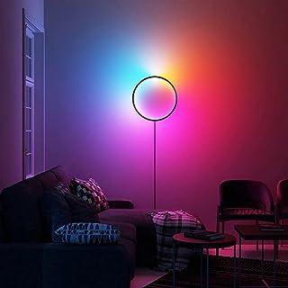 QJUZO LED Wandleuchte Innen RGB Moderne Wandlampe mit Fernbedienung Dimmbar Ring Wandbeleuchtung mit Stecker EU und Kabel ...
