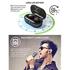 SimpTronic True Wireless Earbuds Bluetooth 5.0 Headphones in-Ear TWS Mini Headset for Sport Extra Bass Stereo Earphones HD Sound IPX6 Waterproof Noise Cancelling Mic 40 Hours Playtime Black