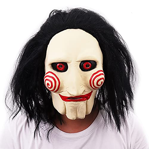 The Puppet Mask, Halloween Party Role Play Costume Latex Horror Scary Billy Cosplay Mask with Hair Dress Up Mask for Masquerade Props