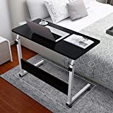 Computer Desk Mobile Medical Overbed Table, Home Office Adjustment Height Study Writing Table Bedroom Laptop Study Table, Student Workstation Study Reading Writing Desk PC Laptop Table (Black)