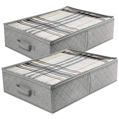"""LotFancy Underbed Storage Containers Pack of 2 Foldable Fabric Underbed Bins Clothes Blankets Comforters Storage Bags with Reinforced Handles and Large Clear Window Gray 24"""" x 16"""" x 6"""