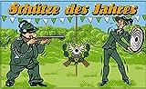 Fanshop Lünen Fahne - Flagge - Schütze des Jahres - Adler - Gewehr - Schützen - Scheibe - Schützenfest - 90x150 cm - Hissfahne mit Ösen -