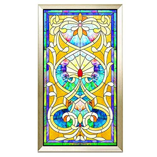 Siunwdiy Película Decorativa de Cristal manchada de la Iglesia, Puertas de baño de Vidrio de la película de la Ventana de la Oficina del hogar,A,45x80cm(18'x32')