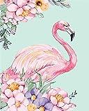 Kit de pintura por números, Amiiba Pink Flamingo y Flores 40,6 x 50,8 cm Pintura acrílica por número Wall Art Crafts (Flamingo, con marco)