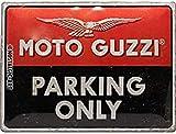 Nostalgic-Art Targa Vintage Moto Guzzi – Parking Only – Idea regalo per amanti di moto, in metallo, Design retro per decorazione, 30 x 40 cm