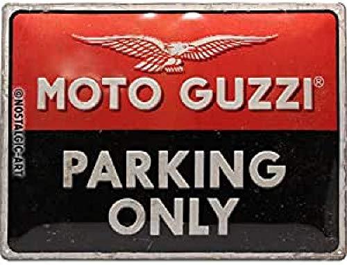 Nostalgic-Art Cartel de chapa retro Moto Guzzi – Parking Only – Idea de regalo para los aficionados a las motos, metálico, Diseño vintage, 30 x 40 cm