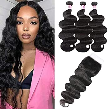 UNice Hair HD Lace Closure 5x5 Invisible Knots Lace Closure with 3 Bundles Brazilian Body Wave 100% Human Hair with Transparent Lace Closure Natural Color  20 22 24+18inch