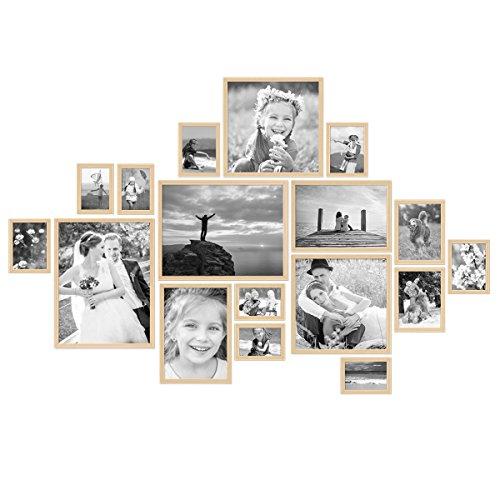 PHOTOLINI 17er Bilderrahmen-Set Modern Natur aus MDF 10x15 bis 30x40 cm/Bildergalerie/Bilderwand