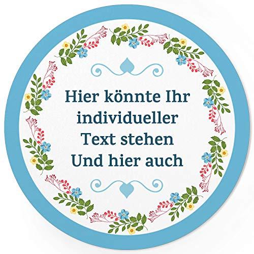 24 INDIVIDUELLE runde Etiketten SELBER GESTALTEN: Blumenkranz Herz Rahmen blau schlicht - Personalisierte Aufkleber für Hochzeit, Taufe, Konfirmation, Kommunion, Produkte