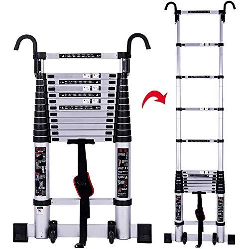 JJYGONG Escaleras Telescópicas Playa Portátil Plegable Multi Propósito con Ganchos Desmontables, Seguridad Portátil de Aluminio Engineeextendible, Capacidad de 330 Libras, 5 M / 11.5 Pies Pl