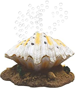 Horolas Fish Tank Air Bubbler Decorations, Resin Crafts Aquarium Air Bubbler Stone Drive Ornament, Pearl Shell Shape Aquarium Fish Tank Decor